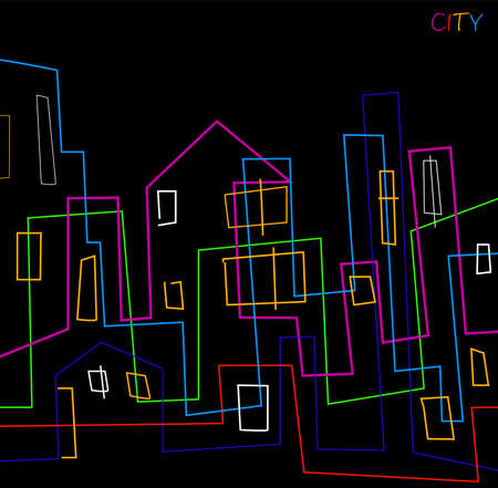 city creative concept, vivid colored lines created a city view, contemporary city, simple idea of city night houses,