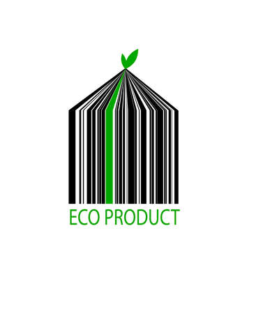 eco bar code on the white background, eco product concept, Vettoriali