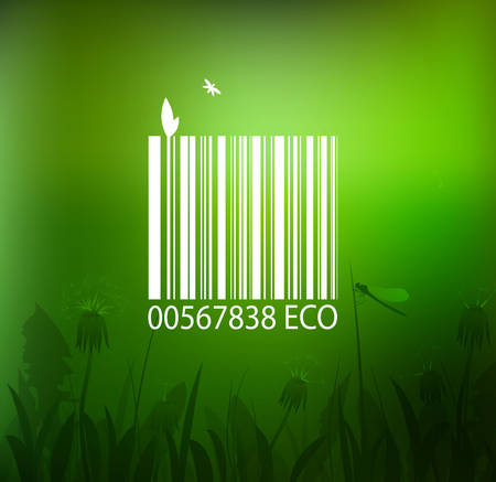 eco bar code on the nature scene background, eco product