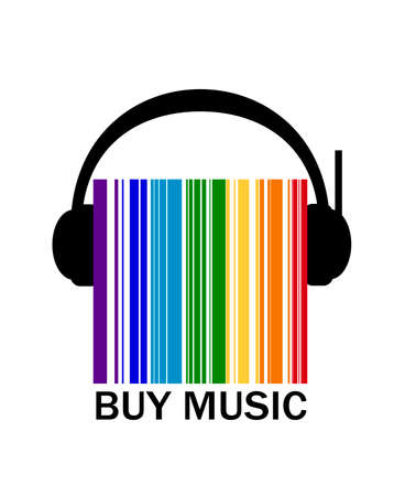 music shop creative logo, headphone between the colored barcode, color of sund idea, concept buy the music,