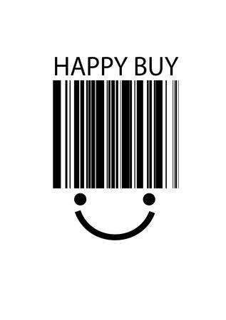 simple concept of posive buying, bar code with smile face on the white background, Ilustração