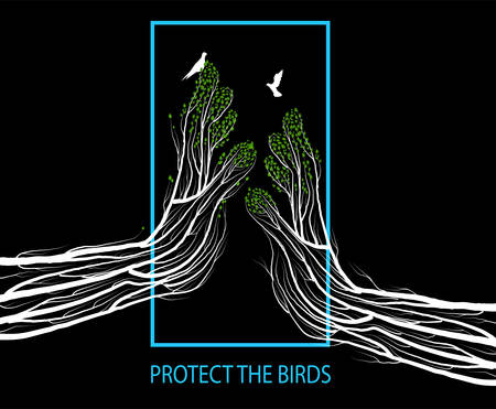 Human hands look like tree branches covering the bird, protect the birds green environment concept,