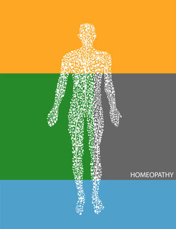 concept of homeopathy or eco green medicine, man silhouette build with small green leaves on abstract colored background, vector