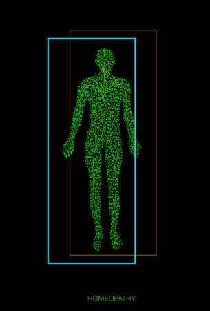 concept of homeopathy or eco green medicine, man silhouette build with small green leaves on black background, vector