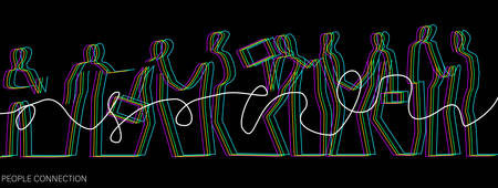 connect the people concept, crowd of vivid colored people connected with one white line, communication of office workers creative contemporary idea, vector