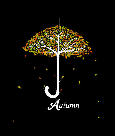 autumn concept, umbrella looks like tree with colored leaves on the black background,
