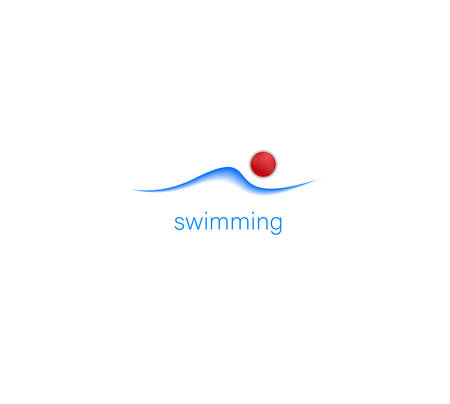 swimming creative idea on the white background, simple swimming pool