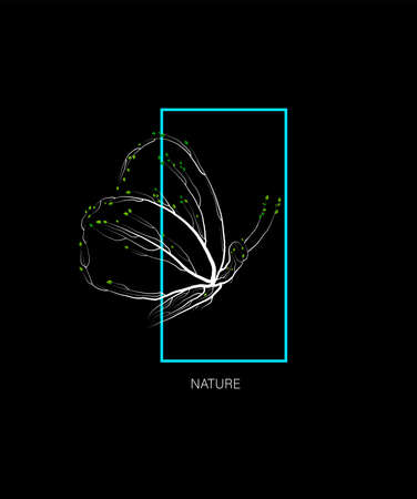 forest animal concept, butterfly looks like tree with green eco product idea, eco production,