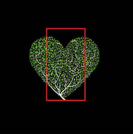 Valentine composition tree green heart in red frame, bush looks like heart creating from branch on the black background, vector