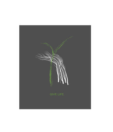 new forest , Human hand looks like tree with green sprout, help the tree creative concept, save the forest idea,