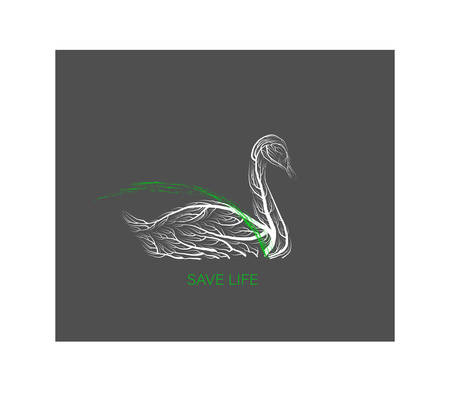 creative eco , save the animal idea, swan like tree on grey background, green product, eco production,