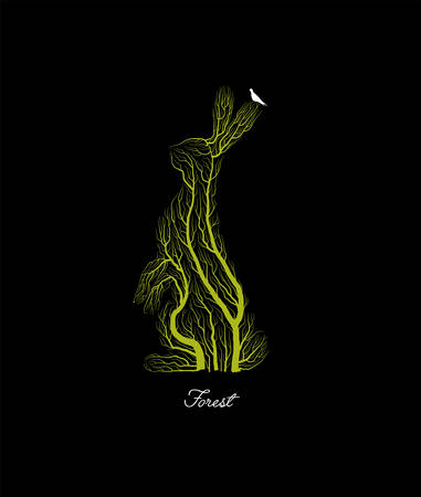 creative forest , save the forest animal idea, hare looks like tree on black background, forest or park emblem,