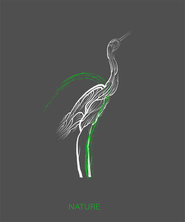 creative eco , save the animal idea, heron looks like tree on grey background, green product, eco production,