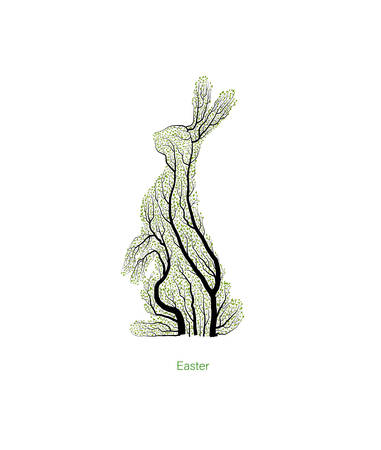 Easter concept, Easter hare looks like tree, green Ester holiday idea, eco production,