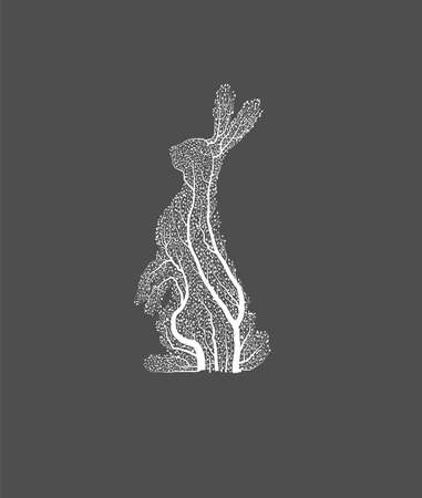 Easter concept, white hare looks like tree, green Ester holiday idea, eco production,