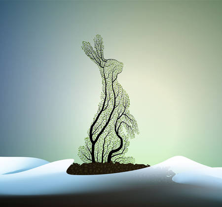 sring hare, Easter rabbit concept, hare looks like tree growing on soil between the snowdrift, eco production,