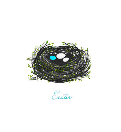 birds eggs in the spring nest on the white backgriund, Easter composition, vector