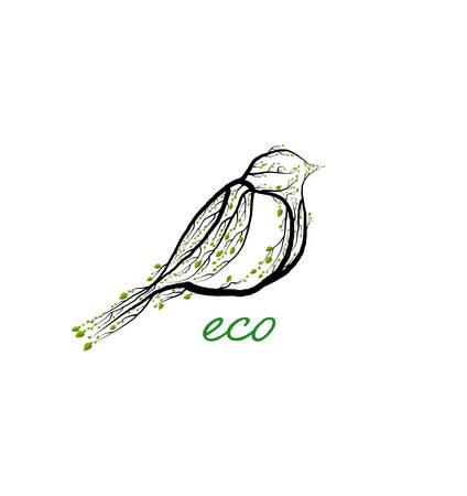 eco product concept, titmouse bird like tree , green eco product idea, eco production,