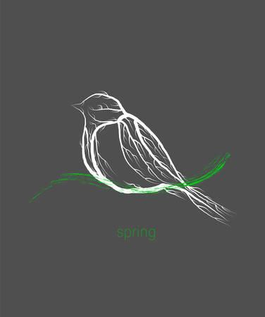eco product concept, titmouse bird like tree , green eco product idea, eco production, vector 일러스트