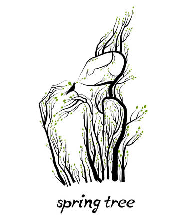 spring tree concept, man like tree holdingthe bird, green product eco care idea,