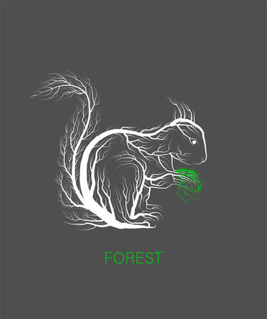 creative eco logo, save the forest idea, squirrel looks like tree on grey background, green product, eco production,