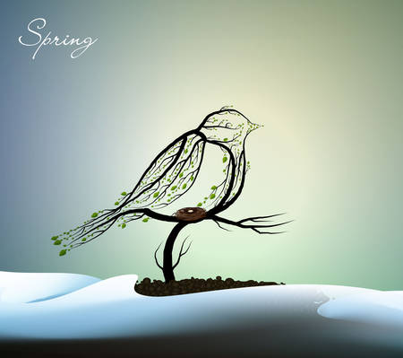 sring bird creative concept, titmouse looks like tree with nest growing on soil between the snowdrift, eco production,
