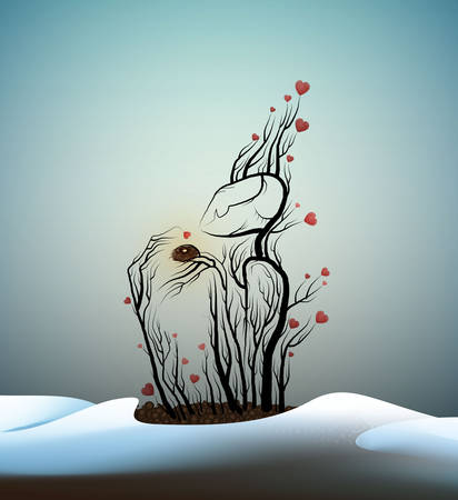 spring tree in love, tree character and bird nest, plant like man, dreamland or wonderland tree, plant alive, happy tree, vector 일러스트