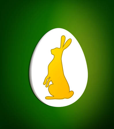 Easter card concept, yellow hare inside the white egg on the green 일러스트