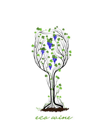 eco wine concept, glass of wine