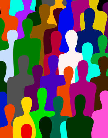 many people, crowd concept, color of inner world of each person, vector 일러스트