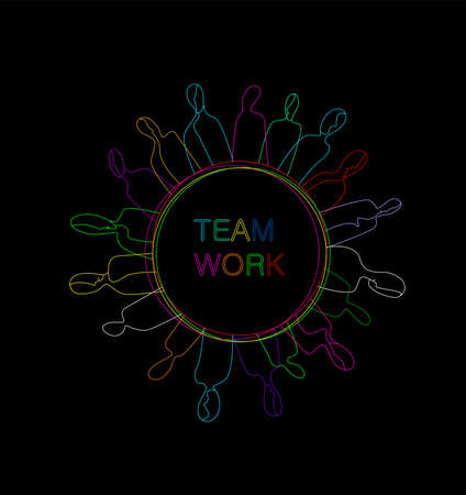teamwork concept, crowd of vivid colored people located on the colored circle, working community creative contemporary idea, 일러스트