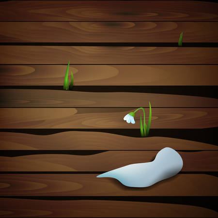 Melting snow and fist snowdrop flower growing through the wooden stick, spring come, vector 일러스트