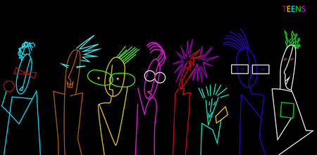 teenager characters, crowd of vivid colored teens on the black background, teens contemporary idea,