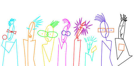 teenager characters, crowd of vivid colored teens on the white background, teens contemporary idea, vector 向量圖像