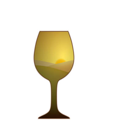 glass of white wine looks like a grape fields on the white background, vector