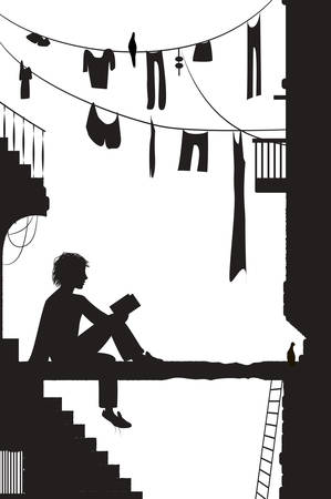 dreamer, boy sits near the city houses and reads the book, reading in the old town scene in black and white color, city story 일러스트