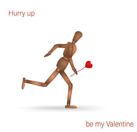 creative valentine card, hurry up be my valentine idea, realistic wooden marionette running with red heart isolated