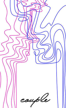 Relationship concept, two vivid colored people look like two line connected with each other, man and woman creative contemporary idea,
