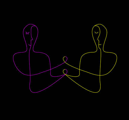Relationship concept, two vivid colored people connected with one lines, man and woman creative contemporary idea, 일러스트