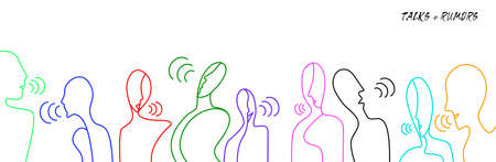 people talks concept, crowd of vivid colored people connected with one line, communication creative contemporary idea, vector 일러스트