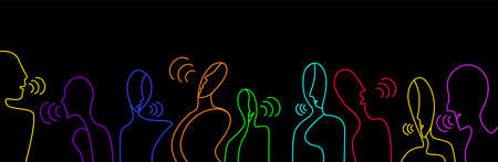 people talks concept, crowd of vivid colored people on the black background creative contemporary idea, vector 일러스트