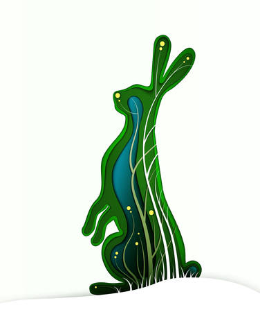 Easter hare concept, Easter rabbit looks like layered paper card with grass and flowers, beautiful Easter holiday idea, vector 일러스트