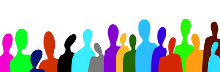 crowd of people in modern creative style, people are different concept, crowd of vivid colored people on the white background,