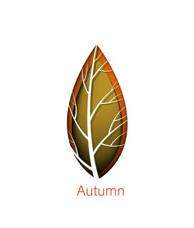 Autumn symbol, layered orange leaf on the white background, october paper card,