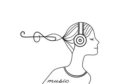 girl listens to music, music cute logo, girl profile in earphone on the white background,