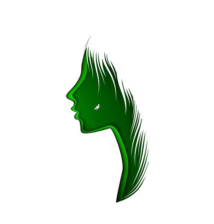 spring woman concept, layered woman profile in green color on the white background, fresh day idea, vector 일러스트