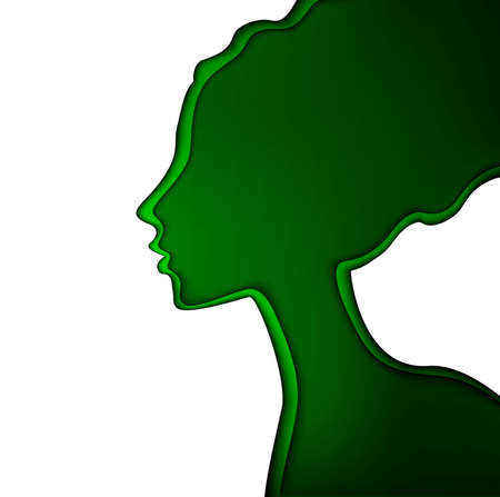 refresh the skin concept, spring woman concept, layered woman profile in green color on the white background, fresh day idea, vector