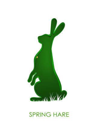 Easter hare concept, Easter rabbit looks like layered paper card with green leaf pattern, beautiful Easter holiday symbol,