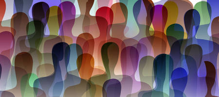 many people, crowd concept, color of inner world of each person graphic