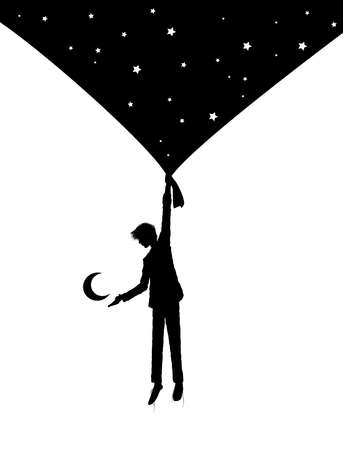 boy silhouette holding the night sky curtain with stars and invites the moon, on the heavens, dream concept, shadows story, vector
